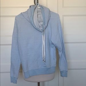 Light Blue Cowl Neck Sweater With Drawstring